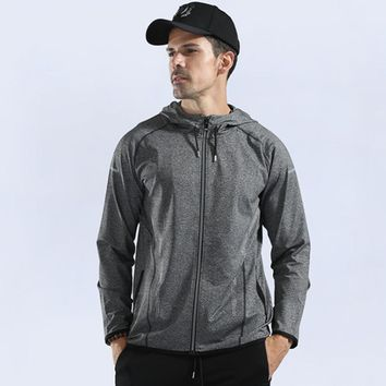 Autumn winter thick Men Jacket Jogging Sports Training Running Fitness Exercise Gym Reflective zipper Jacket Hooded Clothes