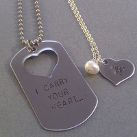I Carry Your Heart... With Me Hand Stamped Necklace Set, For Him and for Her- Giveaway
