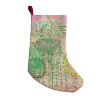 "Marianna Tankelevich ""Pink Dream"" Pink Green Christmas Stocking"