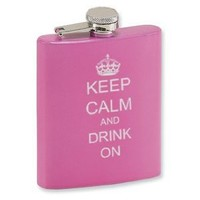 7oz Pink Stainless Steel Hip Flask Keep Calm and Drink On: Amazon.com: Kitchen & Dining