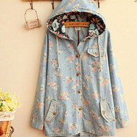 New Fashion Women's Denim Coat Hoodie Hooded Outerwear Jean Jacket