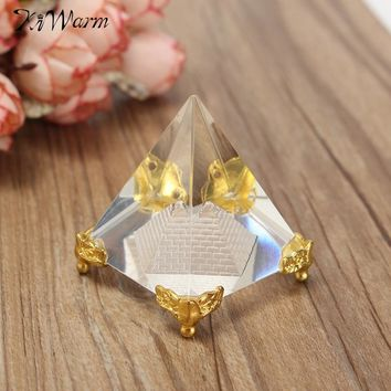 KiWarm Energy Healing Small Feng Shui Egypt Egyptian Crystal Clear Pyramid Ornament | Home Decor Living Room Decoration