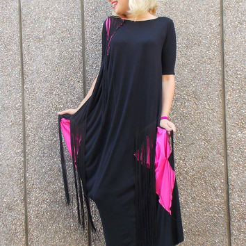 Black Maxi Dress / Fringe Black Dress / Black Kaftan with Fuchsia Inset / Long Kaftan with Silk Fringes / SUMMER 2015