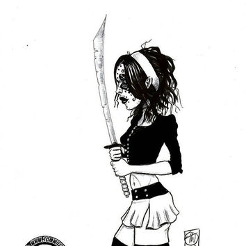 Demon Samurai, brush pen sketch on a4 bristol board Original comic cartoon pin up ink sketch bloody plum pop art girl woman gothic