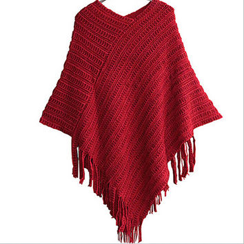 Womens Ladies Cape Coat Fringe Poncho Oblique Stripe Coat Bohemian Shawl Scarf P16