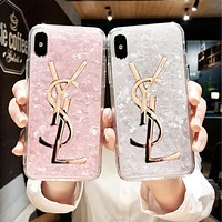 YSL Popular Women Creative Soft Silicone Phone Cover Case For iphone 6 6s 6plus 6s-plus 7 7plus 8 8plus X (3-Color) I13476-1