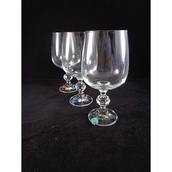 Claudia Bohemia Goblets With Charms  S/3