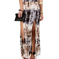 Taupe/Navy Banded Slit Front Maxi Skirt