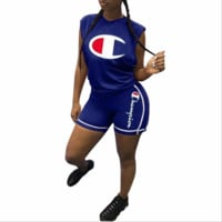 Champion women's personalized print casual sports two-piece F0615-1 Blue
