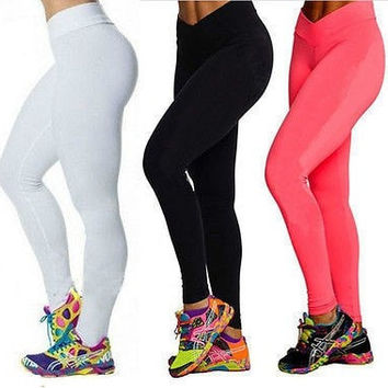 High Waist Candy Colours Solid Leggings Women's Sports Pants Leggings