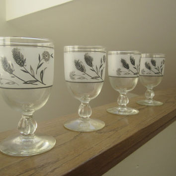 1960s Libbey Grey and Black Wheat & Flower Water Goblets - Set of 4