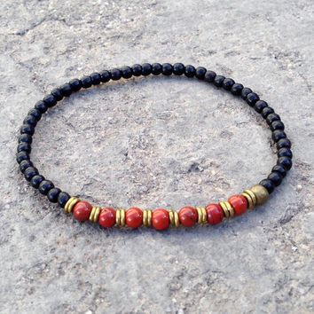 Ebony and Red Jasper Gemstone Mala Bracelet with African Trade Beads