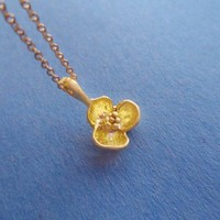Dainty Cute, Flower Pendant, Gold Filled Chain, Necklace