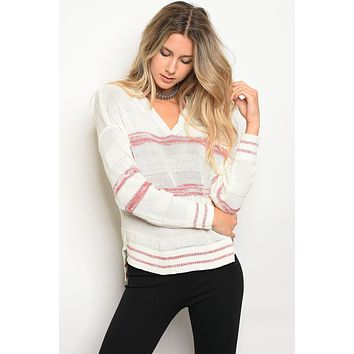 Ladies sweater top with a hood and V-neckline