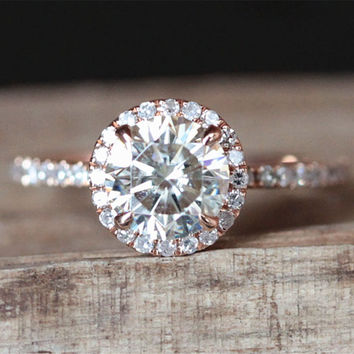 1.0ct Forever Brilliant Moissanite Engagement Ring FB 6.5mm Round Cut Moissanite Ring Half Eternity Halo Diamond Ring 14K Rose Gold Ring