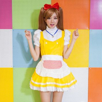 Lolita Cosplay Costumes Anime Housemaid Chambermaid Cosplay Dress Sexy Small Bell Lolita Dress Halloween Carnival 4PCS Dress Set