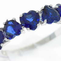 3 Carat Blue Sapphire Heart Ring .925 Sterling Silver Rhodium Finish