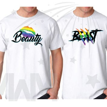 LGBT Gay Beauty and Beast Matching Couple Shirts, Disney Rainbow Colors Lips and Lion Scratches Design, Vacation Shirts, MWM, 468