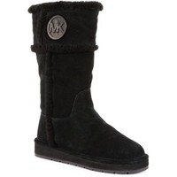 Michael Kors Winter Tall Boot Luggage Suede Sheep Fur (Luggage, 10)