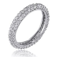 BERRICLE Sterling Silver AAA Cubic Zirconia CZ Womens Wedding Bridal Anniversary Eternity Band Ring