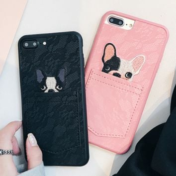 Fashion new embroidery dog lace personality mobile phone case cover two color