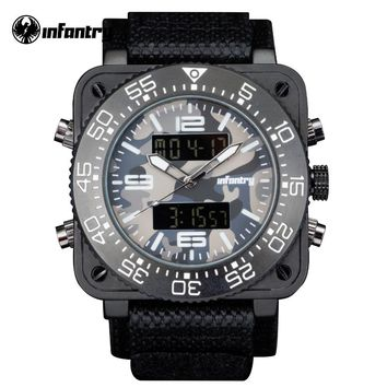 INFANTRY Top Brand Men Watch Sports Military Watches Multi-functional Digital Nylon Rubber Strap Wristwatches Camouflage Dial