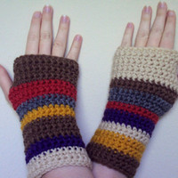 Crocheted Doctor Who Inspired Tom Baker Scarf Fingerless Gloves / Wrist Warmers - Women's