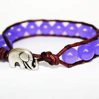 Elephant Bracelet, Leather Beaded Wrap Bracelet 1x, Elephant Jewelry, Lavender Purple Jade Beads, Good Luck Jewelry