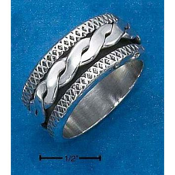 Sterling Silver Ring:  Mens Antiqued Worry Ring With Twisted Spinning Band