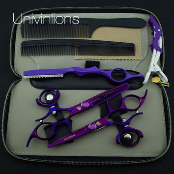 "5.5"" hot titanium purple flying shears swivel thumb shears rotary hair scissors hairdressing fly scissors hairdresser supplies"