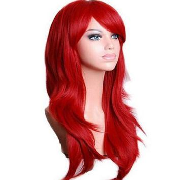 ac PEAPO2Q QQXCAIW Long Wavy Cosplay Wig Red Green Puprle Pink Black Blue Sliver Gray Blonde Brown 70 Cm Synthetic Hair Wigs