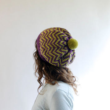 Purple & Chartreuse - Knitted Hat - Chevron - Knit Hat with Pom Pom