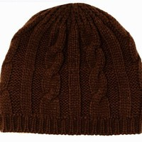 Sakkas EH190NB - Cable Knitted Solid Color Fashion Winter Beanie / Cap / Hat - Chocolate/One Size