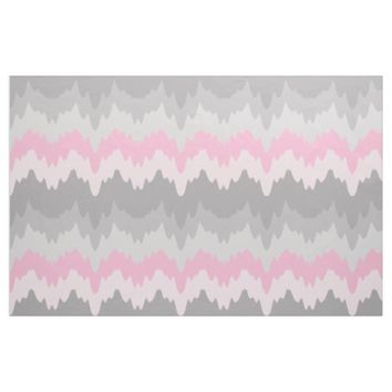 Pink Grey Gray Chevron Ombre Fade Abstract Fabric
