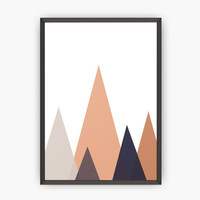 Mountains Print, Coral red mountains, Geometric Wall Art, Abstract Prin, Triangles Print, Triangles Wall Art, Wall print, Wall Art