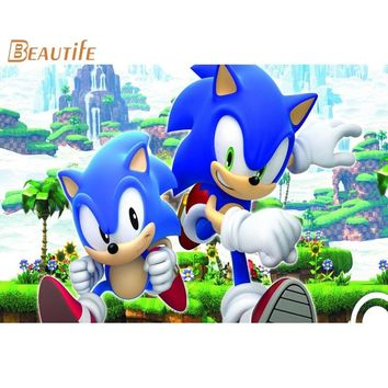 The Hedgehog Sonic 02 Poster Cloth Silk Poster Home Decoration Wall Art Fabric Poster Print 30X45cm,40X60cm.50X75cm,60X90cm