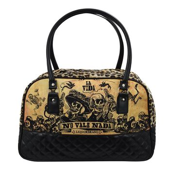 Liquor Brand La Vida Overnight Weekender Bowler Bag Purse