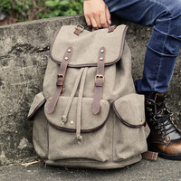 Retro Large Travel Leather Strap Rucksack Thick Canvas College Backpack