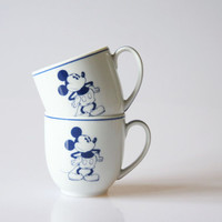Mickey Mouse espresso cups, miniature Mickey Mouse coffee cups, vintage Disney collectible, retro Disney porcelain cups, Guy Degrenne cups