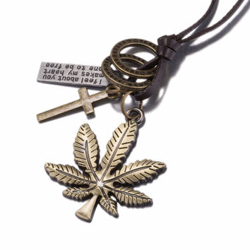 Weed Leaf Cross Dog Tag Pendants Women Necklace