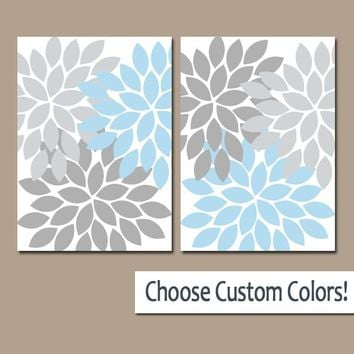 Blue Gray WALL Art Canvas or Prints Bathroom Decor, Bedroom Wall Decor, Light Blue Nursery Decor Floral Dahlia Flower Burst Petal Set of 2