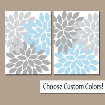 Blue Gray WALL Art Canvas or Prints Bathroom Decor, Bedroom Pictures, Light Blue Nursery Decor Floral Dahlia Flower Burst Petal Set of 2