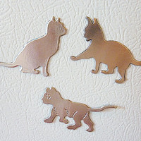 3 Aluminum cat magnets - cat magnets - Cat Lover Gift - animal magnet - Cute Gift Idea - unique gift for her - unique gift for him