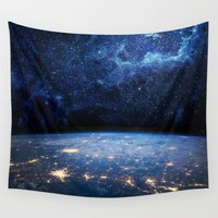 Starry Night Above Earth Space Tapestry Polyester Wall Art