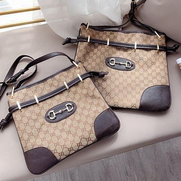 Gucci1955 autumn and winter new GG printed canvas casual horsebit postman bronze