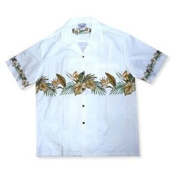 bird of paradise white hawaiian border shirt
