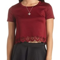 Laser-Cut Scalloped Crop Top by Charlotte Russe - Burgundy