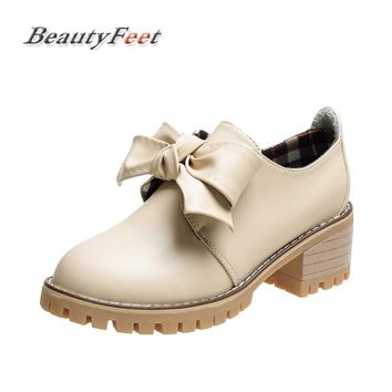 BeautyFeet Bow Knot Flat Shoes Round Toe Lace-Up Oxford Casual Shoes Woman Pu Leather Brogue Women Shoes Female Zapatos Mujer