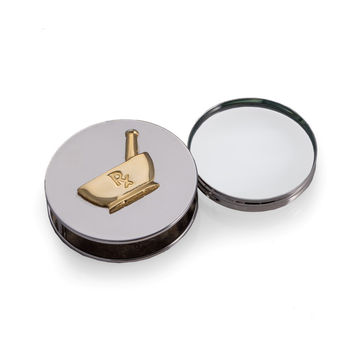 """Pharmacy"" Themed, Chrome Plated Magnifying Glass / Paperweight."