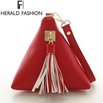 Clutches Evening Bag Triangle Day PU Leather Wristlet